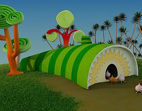 3D asset game-ready Insect Cartoon House