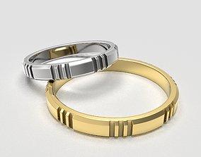 3D print model Set of simple band rings