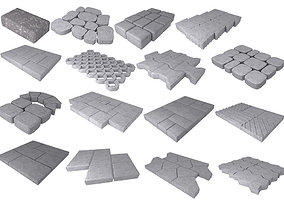 A set of stones for paths and pavement 3D printable model
