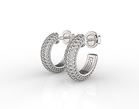 Bevelled Earrings links with diamonds 3D printable model