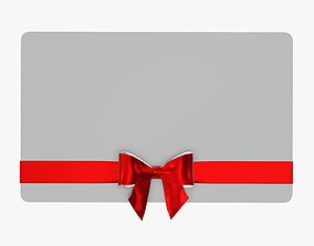 3D Gift card with ribbon Christmas 03