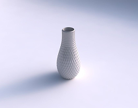 3D printable model Vase curved with grid piramides