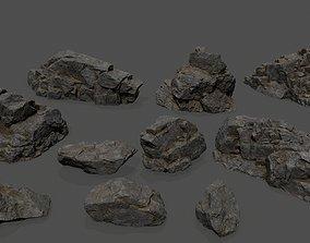 cliff rocks 3D model realtime snowy