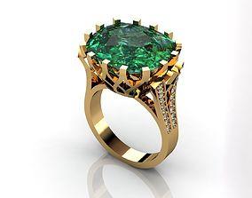 3D printable model Green Emerald Ring Green Stone Ring