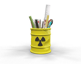Radioactive pencil holder 3D printable model