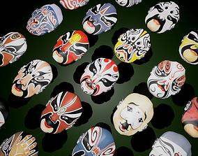 3D asset 24 Oriental Chinese Opera Mask Pack Kabuki 1