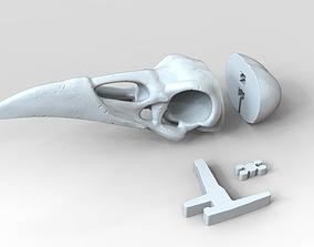Raven skull 3D print Model With Assemble Kit - Necklace