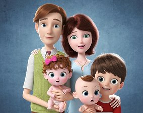 3D Cartoon Family Rigged V4 child