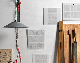 pencil 3D model Handicraft Tools Papers and Wall Lamp