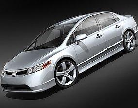 Honda Civic 2008 sedan midpoly 3D Model
