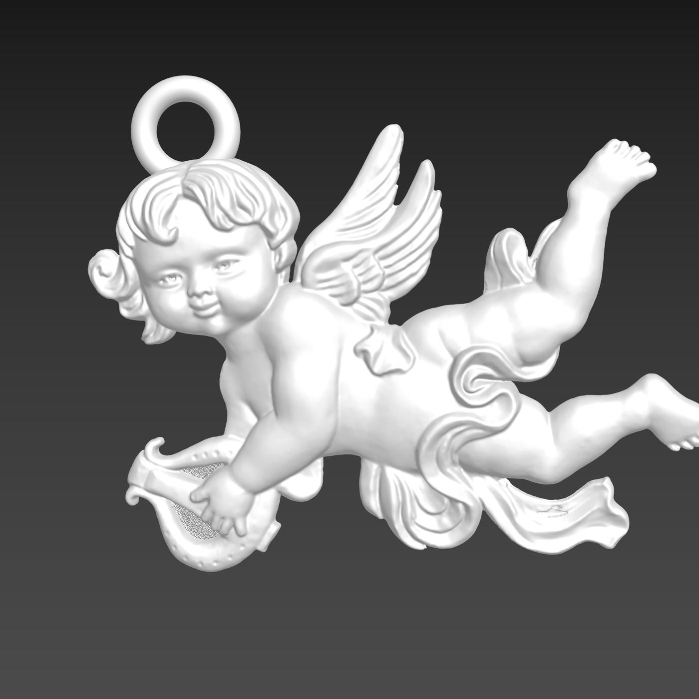 Harp Angel sculpture Pendant jewelry Gold 3D print model