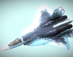 low-poly PBR SU 57 5th Gen Jet Fighter 3D Model