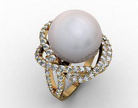 3D printable model pearl engagement ring