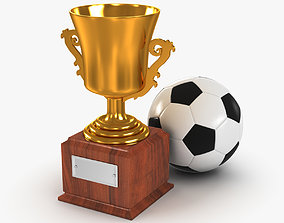 Gold Cup and Soccer Ball 3D model