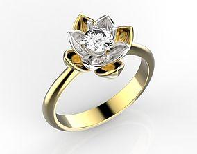 3D printable model Lotus ring with diamond