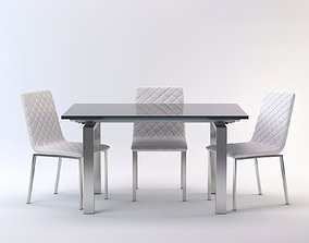 Dining table with chairs 3D model kitchen