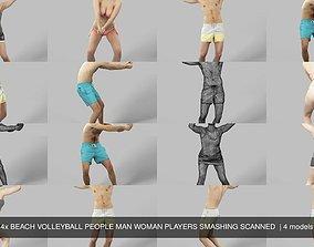 4x BEACH VOLLEYBALL PEOPLE MAN WOMAN PLAYERS SMASHING 3D