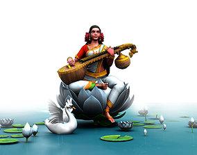 god saraswati lotus girl lute 3d model