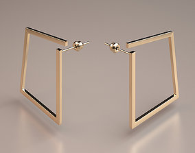 gold minimal square earrings model printable