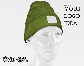 Beanie Hat Cap Winter - Green PBR 3D asset
