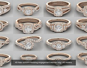 49 Halo solitaire wedding engagement women ring 3D