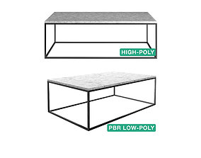 3D Sidetable - Tania - High- and Low-poly