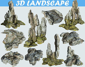 3D Low poly Cave Mossy Rock Modular Pack