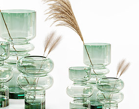 3D HM glass vases with dried flower pampas grass