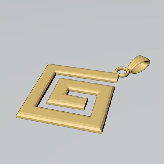 Gold Greek Key Meander Pendant