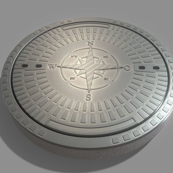 Sewer Cover 4 Textured High-Poly Version (Blender-2.91 Eevee)