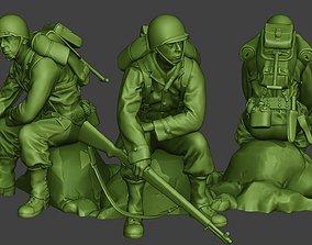 American soldier ww2 sit A10 3D printable model