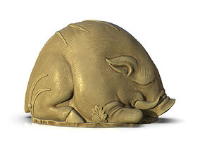 Sleeping pig in the grass 3D print model