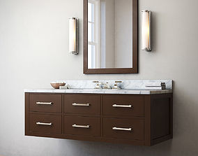 RH Hutton single extra-wide floating vanity 3D