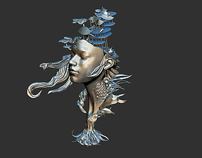 Female Creative Classic Art Head baroque 3D print model 2