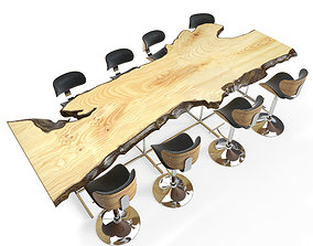 live edge table set 3D