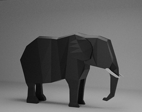 3D model VR / AR ready animals Low Poly Elephant