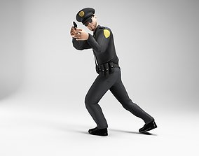 3D model polieman gun in hand ready to shoot low poly 1