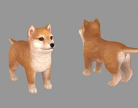 3D asset Cartoon pet puppy - Shibainu - baby dog