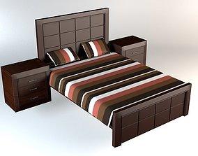 Wood Bed 3D asset