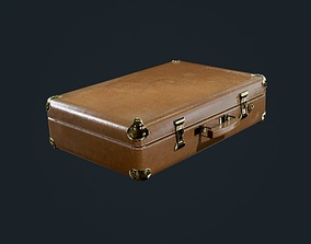 Suitcase Luggage Briefcase Leather Travel Hotel 3D model 1