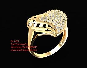 1661 Diamond Heart Ring 3D printable model