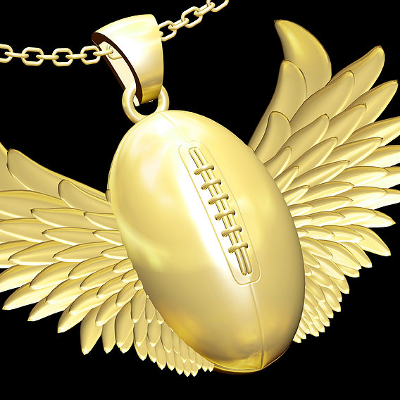 Winged Soccer Ball Pendant jewelry Gold 3D print model