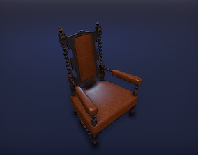 Old medieval chair 3D model game-ready