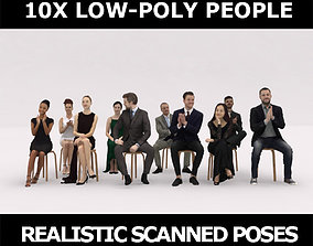 3D asset 10x LOW POLY ELEGANT CASUAL PEOPLE AUDIENCE VOL01
