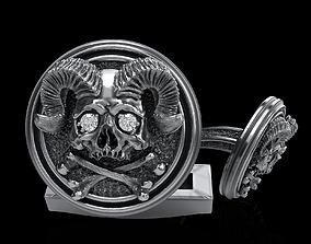 printable skull cufflinks 3D print model