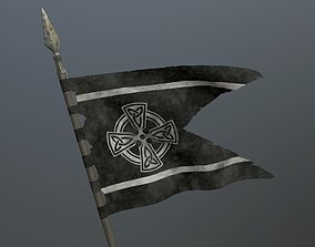 Medieval flag on the spear 3D model low-poly