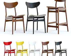3D model West Elm Classic Cafe Chairs