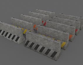 PBR Concrete Barrier V4 3D asset