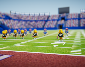 3D Low poly American football game models
