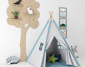 Decorative set with a tent for childrens room 3D